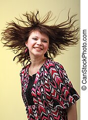 woman with hair flying - Attractive young woman with hair...