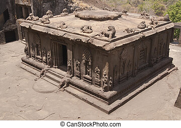 Hindu Rock Temple - Hindu temple carved out of solid rock...