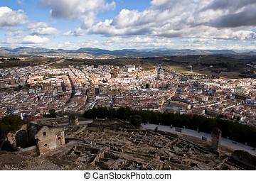Urbanscape from the La Mota Castle, Alcala la Real, Jaen...