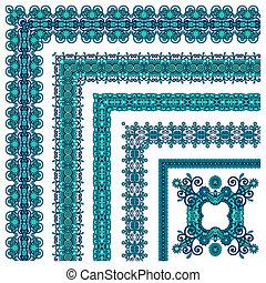 floral vintage frame design Vector set All components are...