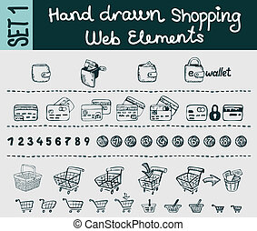 Sketchy shopping and e-commerce elements set - A set of...