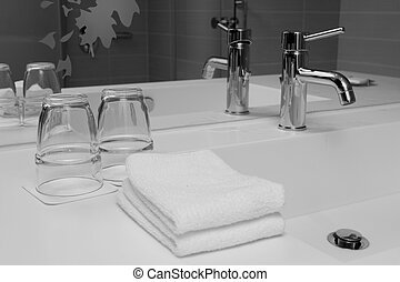 wash-stand - contemporary interior in bathroom, monochrome