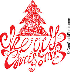 Red Christmas template with swirly ornamental tree and Merry Christmas calligraphy on white background