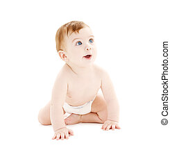 crawling baby boy in diaper - picture of crawling baby boy...