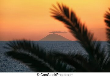 Active volcano Stromboli in Italy - Beautiful view of the...