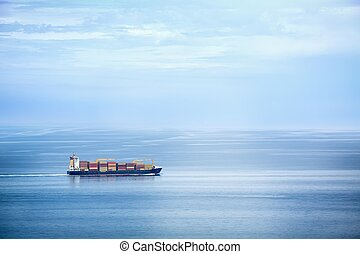 Container Ship  - Large container ship in the open sea