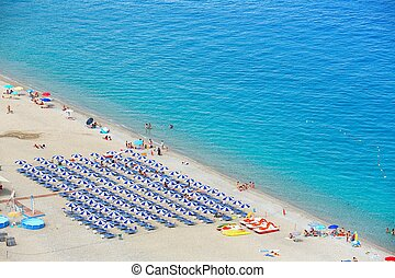 Beautiful beach in Scilla, southern Italy, Calabria region -...