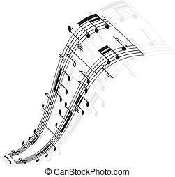 Music notes wave