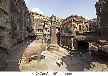 Temple Courtyard at Ellora - Stone carved elephant and...
