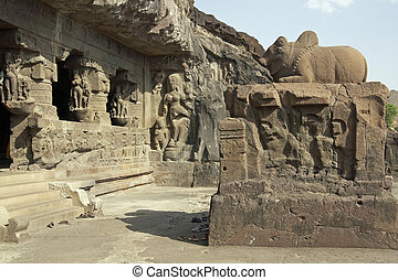 Ancient Hindu Temple carved out of solid rock, Ellora Caves,...