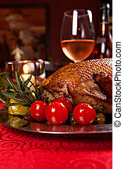 holiday turkey - Christmas roast duck served on a festive...