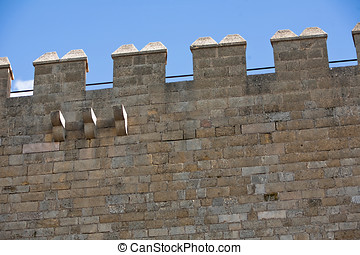 Battlements of The Keep. La Mota castle.Alcala la Real, Jaen...