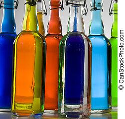 color filled bottles