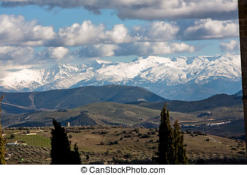 Views from La Mota castle with Sierra Nevada to the...