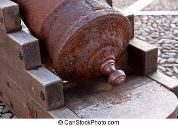 Canon of iron in urban layout of La Mota castle. Alcala la...
