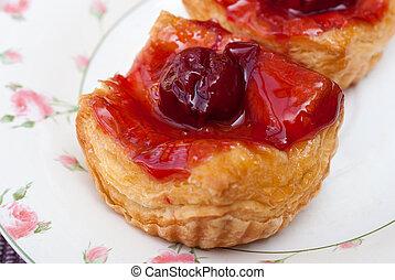 cherry danish pastry - Freshly baked cherry danish pastries.