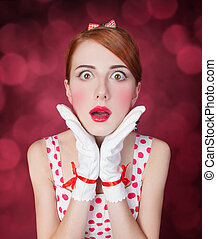Beautiful redhead women. Photo in retro style with bokeh at...