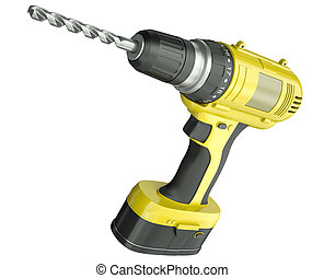 Cordless drill - Yellow cordless drill isolated on a white...