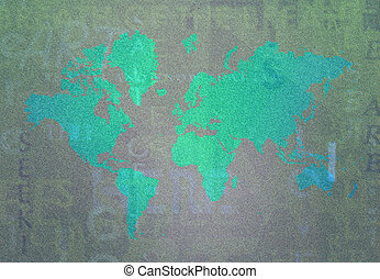 Earth Art - Map of Earth with intentional grain