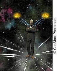 Deamon - Skeletal figure in business suit with burning wings