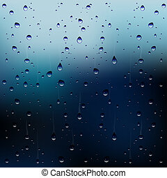 Vector raindrops on window - Abstract vector illustration...