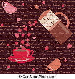 Card with coffee and hearts