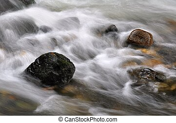 Autumn river with stones - Autumn river with fast flowing...