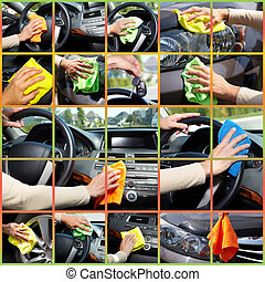 Hand cleaning car - Hand of young woman washing a car