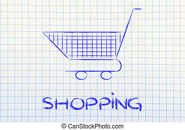 shopping cart, symbol of marketing techniques and strategy -...