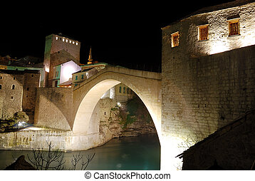 Mostar Old Bridge With Towers at Night - Old Bridge in...