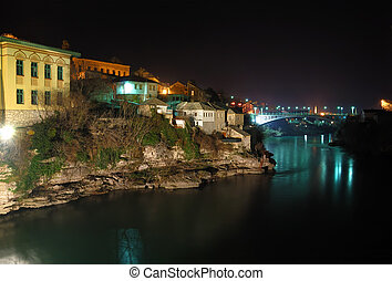 Mostar Old Town at Night - Mostar old town at night with the...