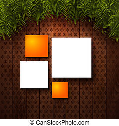 Typographic label Merry Christmas and Happy New Year. Wooden panel and realistic fir. Use it for Your winter holidays design. Vector illustration.