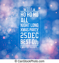 Christmas party poster. Blue shiny background. Vector image.