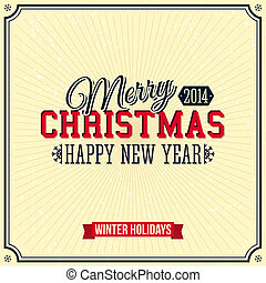 Vintage Merry Christmas and Happy New Year card Lettering...