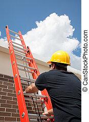 construcción, trabajador, subidas, escalera
