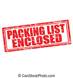 Packing List Enclosed - Grunge rubber stamp with text...