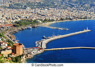 View of Alanya harbor form Alanya peninsula Turkish Riviera