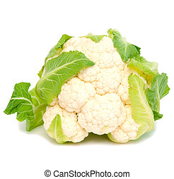 cauliflower - Fresh organic cauliflower isolated on white...