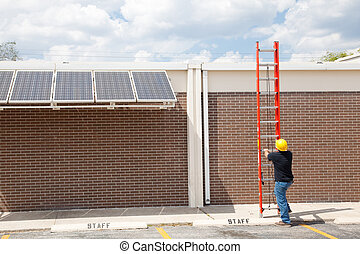 Repairman and Ladder - Wide angle view of a construction...