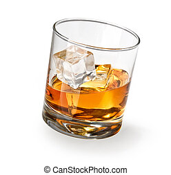 whiskey glass - Glass of scotch whiskey and ice on a white...