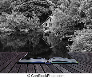 Creative concept pages of book Black and white retro style picture of derelict boathouse and rowing boats landscape
