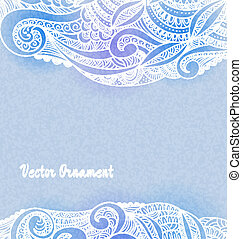 ?ard with ornaments hand-drawn, pattern in engineering zentangle. Invitation card.