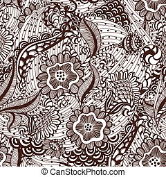 Seamles hand-drawn seamless ornament, pattern in engineering zentangle.