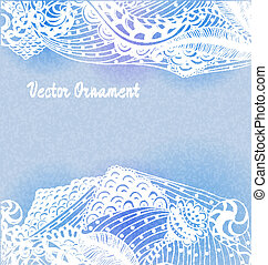 ornaments hand-drawn, pattern in engineering zentangle. Invitation card.