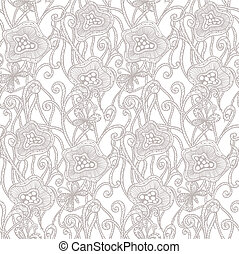 Seamless hand drawn pattern with flowers