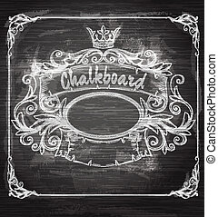 Vintage banner and chalk board. Decorative retro banner.
