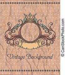 Decorative retro banner and grungy background.