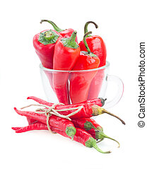 chili peppers in glass bowl - red chili peppers in glass...
