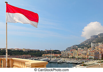 Monaco flag and Monte Carlo skuline. - National flag, modern...
