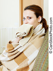 illness woman - illness woman in warm plaid with...